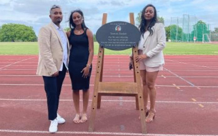 Hillingdon Council unveiled a plaque in Tashan's memory at Hillingdon Athletics Stadium | Hillingdon Today