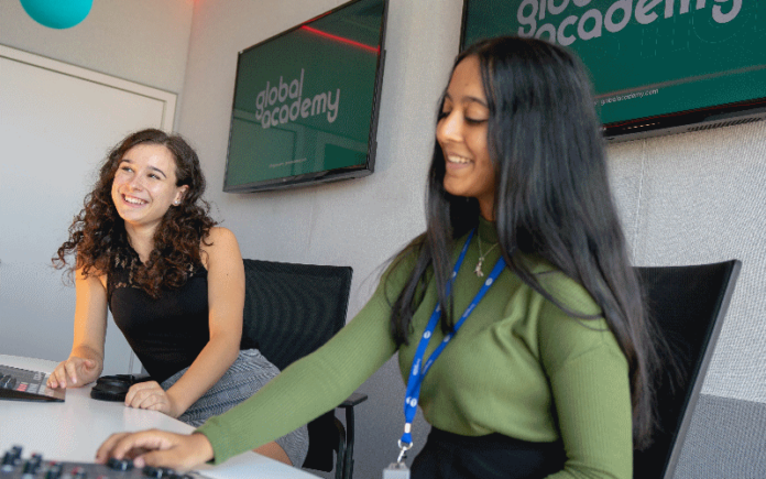 Students in one of the radio studios at the Global Academy | Hillingdon Today